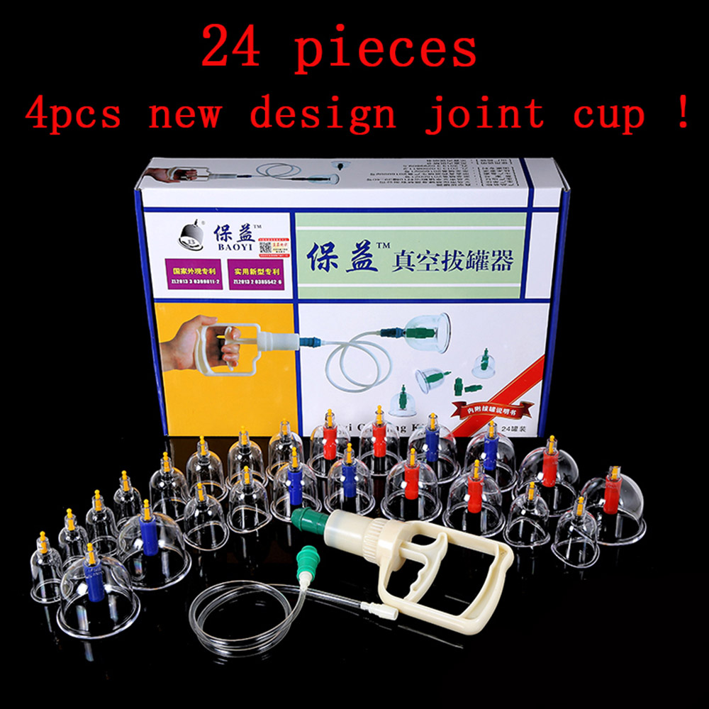 1Set* 24 pcs massage Vacuum cupping set thicker magnetic aspirating cupping cans acupuncture massage suction cup with tube gift<br><br>Aliexpress