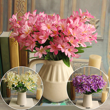 Lovely Artificial Mini Lily Flower Bouquet Home Wedding Decor 24 Flowers on 1 Piece(China)