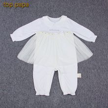 Top Papa White Pink Lace Apron Bowknot String Sleeve Baby Girl Children Jumpsuit Shine Embroidery Letter Bow Collar Kid Suit