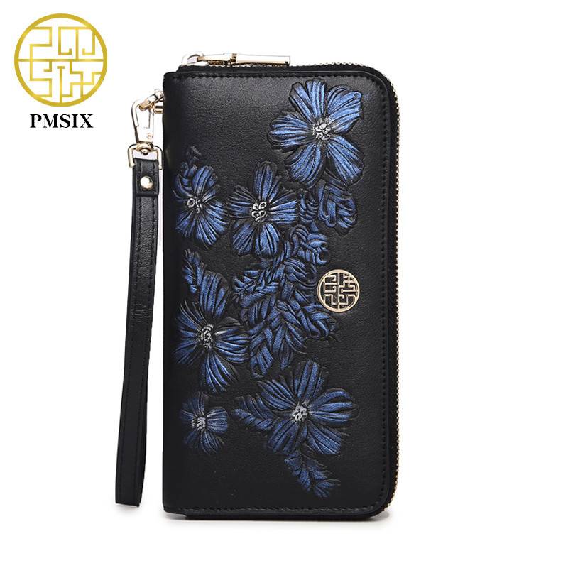 Pmsix Brand Embossing Women Wallet Genuine Leather Female Purse Long Printing Floral Women Retro Leather Wallet Clutch Party Bag<br>