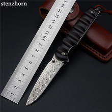 Stenzhorn Real Wood Stenzhorn 2017 New Swedish Powder Damascus Folding Knife With Fruit Hardness Wilderness Survival Tools