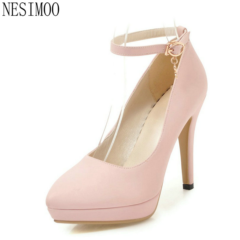 NESIMOO 2018 Women Pumps Platform Pu Leather Fashion Shoes Thin High Heel Buckle Pointed Toe Ladies Wedding Pumps Size 34-43<br>