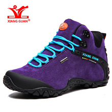 XIANGGUAN 01 new arrival women's waterproof outdoor climbing shoes Lady suede calfskin leather Mid comfortable hiking boot 82287