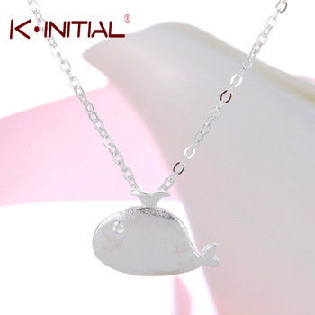 Kinitial 1Pcs Fashion 925 Silver Fish Necklace Unique Animal Necklace Pendant Jewelry For Women Cute Pendant Tiny Necklace