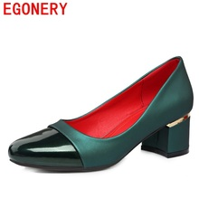 egonery fashion pumps woman 2017 square heels good quality shoes women high heel concise shoes for office ladies working shoes(China)