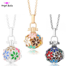 Pryme 20.5mm Oil Drip Flower Design Fragrance Necklace Hollow Oil Cage Necklaces Angel Bola Long Chain Necklaces NL043