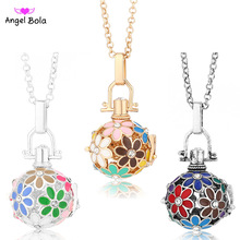 Pryme 20.5mm Oil Drip Flower Design Fragrance Necklace Hollow Oil Cage Necklaces Angel Bola Long Chain Necklaces NL043(China)