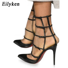 Eilyken Summer Women Shoes Gladiator Sandals Heels 2017 Fashion High Stiletto Pointed Toe Hollow Out Black Women's Sandals(China)