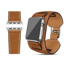 Series 3/2/1 Cuff Bracelet Strap Leather Watchband Cuff Apple Watch Band 42mm 38mm With Adapters(China)