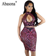 Abasona Women Sequins Dress Summer Sleeveless Halter Cut Out Dress Sexy Club Wear Black Red Mesh Bodycon Evening Party Dresses