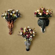 European simulation animal head vase basket mural decorations background wall ornaments Home Furnishing resin wall Pendant