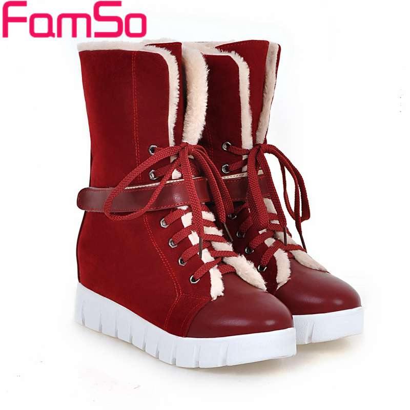 Big Size 34-43 2017 New Fashion Women Boots Black red Riding Boots Shoes Platforms Lace-up Winter Fur Snow Boots Shoes SBT4446<br><br>Aliexpress