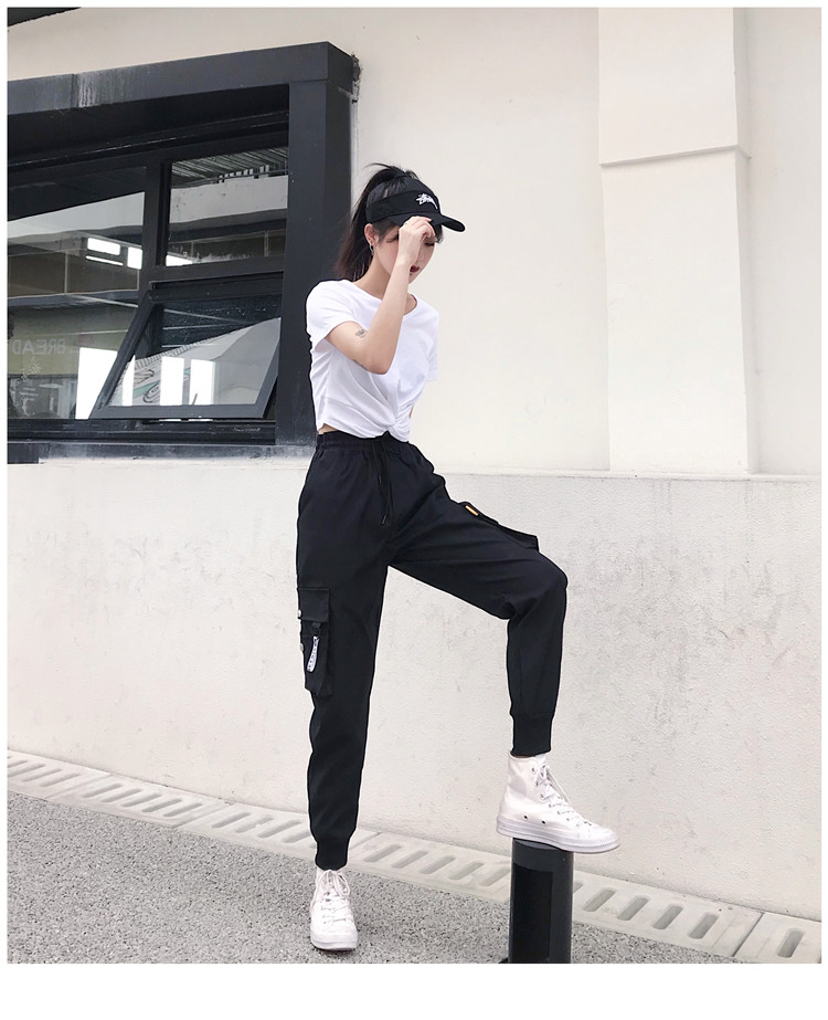 Hot Big Pockets Cargo pants women High Waist Loose Streetwear pants Baggy Tactical Trouser hip hop high quality joggers pants 4