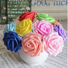 10pcs 6kind of colors Diameter 6-7 Cm Artificial Foam Roses For Home Bouquet Wedding Party Craft DIY Artificial Flowers Decor
