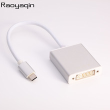 Raoyaqin Portable USB 3.1 Type-C to DVI Video Converter 4K HDTV Digital Adapter Cable Connector Use for Laptop Mobile Phone