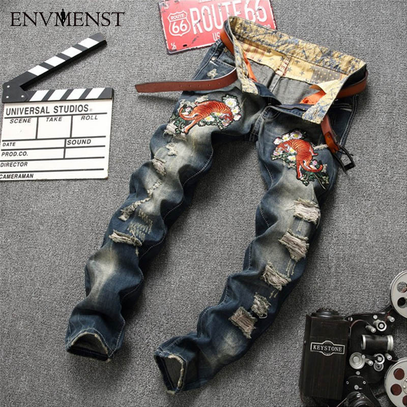 2017 New fashion Mens Tiger printed Hole jeans men slim straight stretch jeans high quality designer pants nightclubs singersÎäåæäà è àêñåññóàðû<br><br>