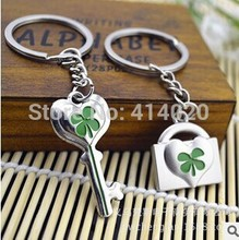 100Pairs/Lot  Free Shipping With FedEx Promotion Gift Wedding Party Supplies Lover's Green  Lock Key Chain