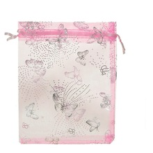 MJARTORIA 125PCs Pink Organza Gift Bags Silver Color Butterfly Pouches Wedding Party Decoration Favor Convenient Pouches 13x16cm(China)