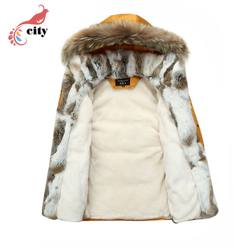 Natural Rabbit Fur Liner Woman Man Couple Down Parkas ,2018 New Fur Hooded Thick Cotton Coat ,Super Warm Winter Jackets
