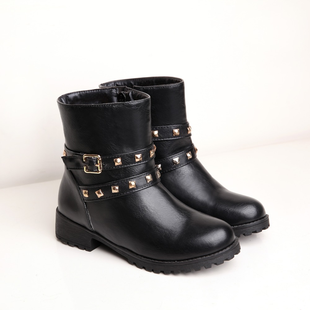 plus size  34-43  11 12  2017  women  boots woman fashion boots cool round toe rivet boots ankle boots shoes <br><br>Aliexpress