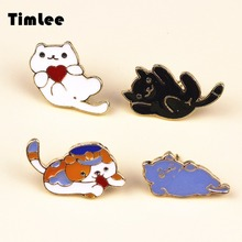 Timlee X092 Cartoon Oil Drop Cat Kitty Pet Metal Brooch Pins Button Pins Girl Jeans Bag Decoration Gift Wholesale