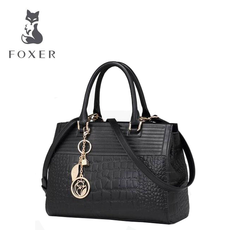 FOXER 2017 new Women Genuine Leather bag fashion Crocodile pattern  women handbags shoulder messenger bag<br><br>Aliexpress