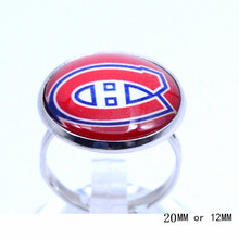 Montreal Canadiens Ring Ice Hockey Charms NHL Sport Jewlery Round Glass Dome Silver Plated  Ring For Women Girl Adjustable