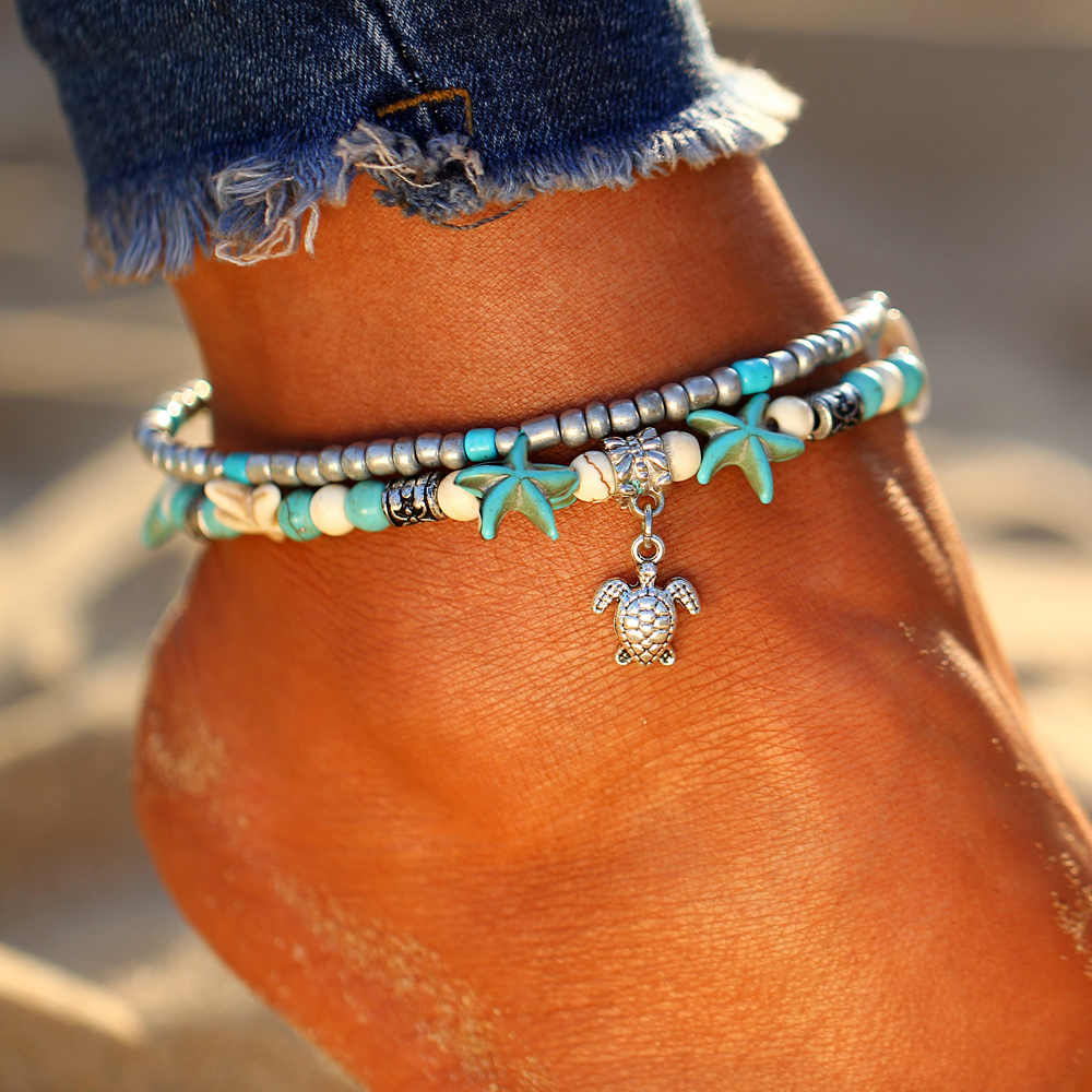 Filluck Anklets for Women Boho Turtle Shell Star Faux Opal Anklet Bracelets On The Leg Foot Chain Beach Jewelry Gift for Her