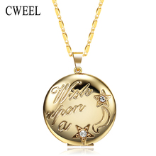 CWEEL Vintage Lockets Necklaces For Women Gold Color Fancy European Photo Box Pendant Necklace Men Jewelry Holiday Accessories