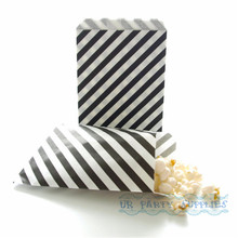 200pcs Black Diagonal Stripe Candy Paper Bags Food Buffet Bag Snack Popcorn Treat Party Favor Gift Bag Weddin Birthday Favor
