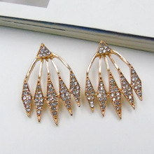 Trendy Geometric Wild Inlaid Triangles Crystal Stud Earrings for Women Party Gift Jewelry Accesssories 3725