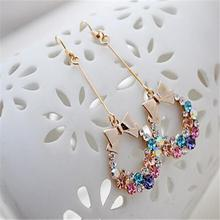New Fashion Jewellry Crystal Colorful Rhinestone Bow Dangle Earrings Gift for Girls