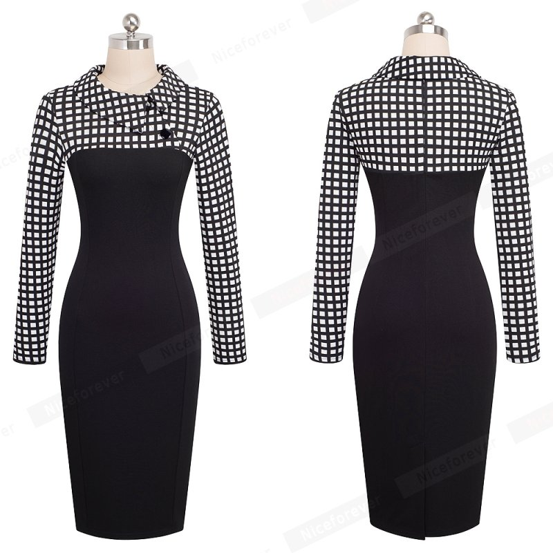 Nice-forever Elegant Vintage Fitted winter dress full Sleeve Patchwork Turn-down Collar Button Business Sheath Pencil Dress b238 6