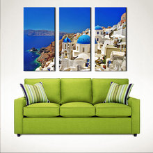 3 Pieces Mediterranean Paintings Artwork Santorini Landscape Picture Print on Canvas Wall Art Home Wall Decor No Framed