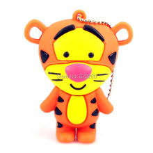Tiger cartoon u disk, Free shipping 2G/4G/8G/16G/32G tiger USB 2.0 usb flash drive memory Silicone Rubber Cute Tiger USB Flash