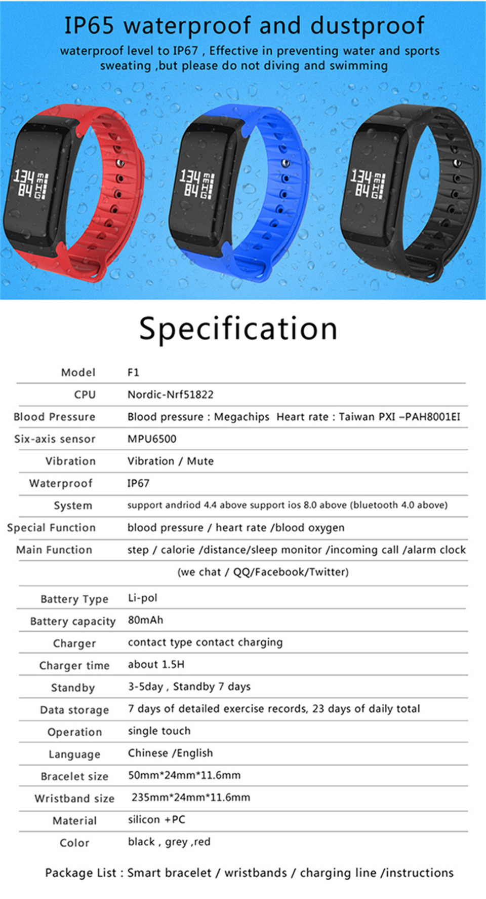 LETIKE Blood Pressure Smart Bracelet Sport Pedometer Fitness Tracker Wrist Smartband Pulse Measure Waterproof For IOS Android 13
