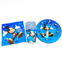 60pcs/lot Mickey mouse theme paper plates paper cups and paper napkins for 20 people use Mickey mouse party supplies