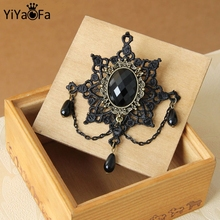 YiYaoFa Handmade Vintage Brooch Pin Antique Fabric Brooch Buckle Women Accessories Gift Lace Corsage YBR-12