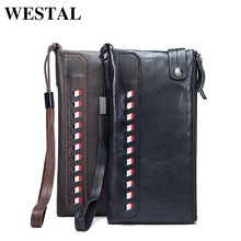 WESTAL Practical Genuine Leather Fashion Men Wallets Card Holder Men Long Wallets Coin Purse Male Clutch Man Wallet 9091