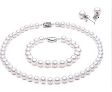Women Gift word 925 Sterling silver real natural freshwater pearl necklace bracelet earring set buy nearly round, near flawle(China)