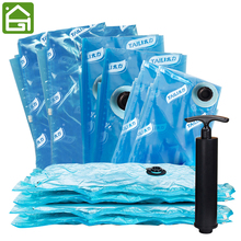 11PCS Blue Vacuum Bags For Clothes Quilt Organizer Foldable Vacuum Space Saving Storage Bags Closet Organizer With Hand Pump
