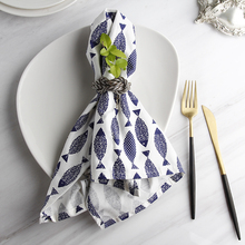The Blue Mediterranean Fish Printing Cloth Napkins  6PCS Kitchen Towels Table Diner Napkins Restaurant Napkins For Wedding