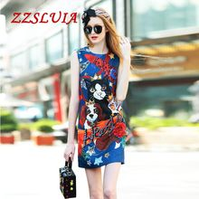 High quality 2017 new arrival fashion elegant summer animal print sequined beading designer O neck one piece dress LKH061216(China)