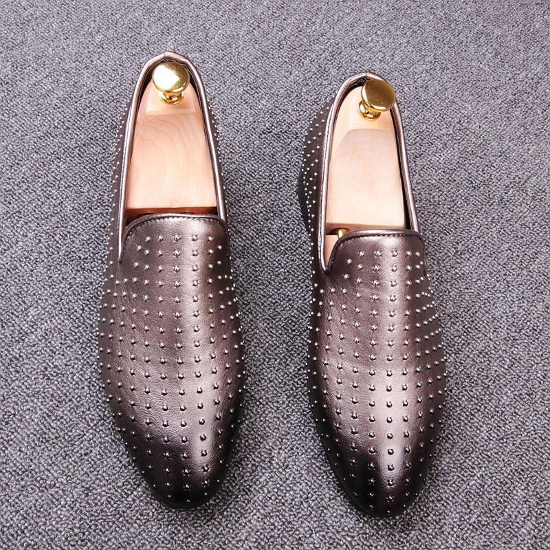 New Arrival Men Brush Color Rivets Loafer Shoes Luxury Designe Slip on Casual Comfort Shoes Size38-43 Party Shoes Color Gradient<br>