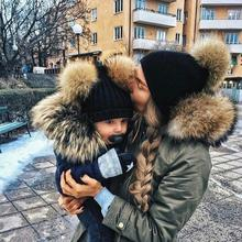 Lovely Winter Parent-child Double Fur Ball Pompon Cap Warm Infant Baby Knitted Hats Fashion Beanies Caps Mother Kids Skullies(China)