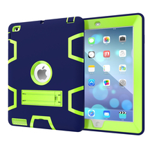 For Apple iPad 3 iPad 4 Kids Safe Armor Shockproof Heavy Duty Silicon+PC Stand Back Case Cover For ipad 2 3 4 Tablet PC