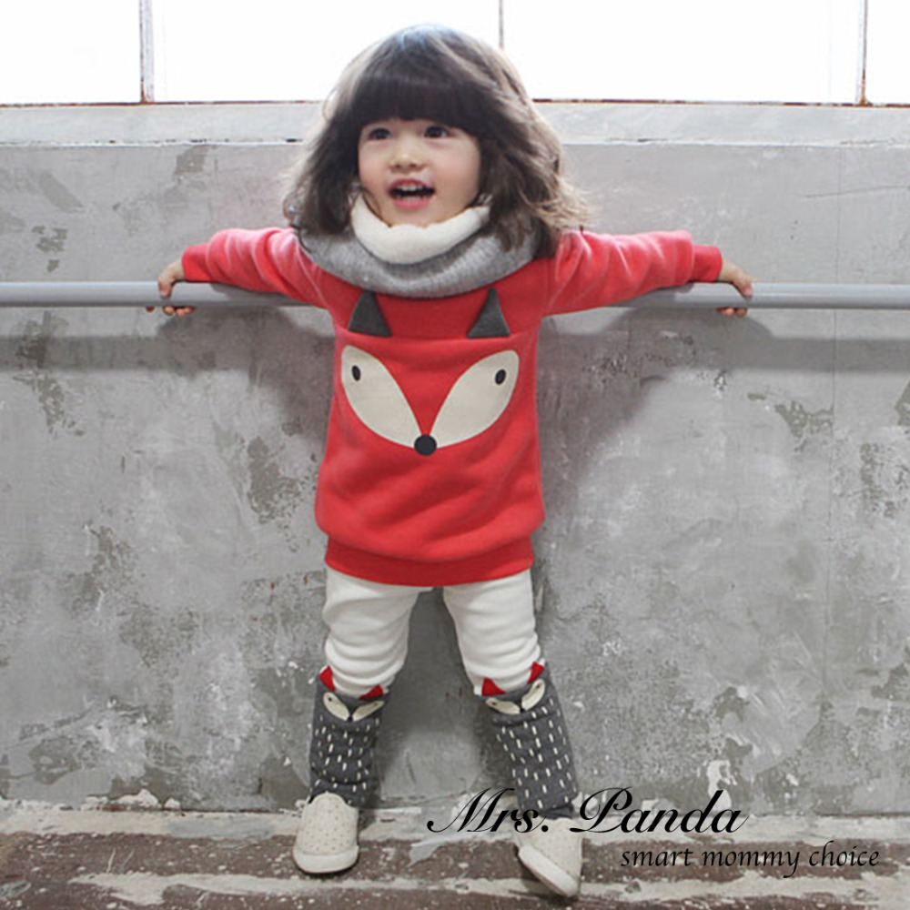 Retail 2017 Spring style Infant clothes Thicken Clothing sets Red Fox 2pcs(Full Sleeve + Pants) Baby girls clothes Free Shipping<br><br>Aliexpress