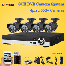 LOFAM DVR 8 channel with 4 camera 800TVL CCTV video surveillance system 8ch full 960H recording home outdoor security camera set