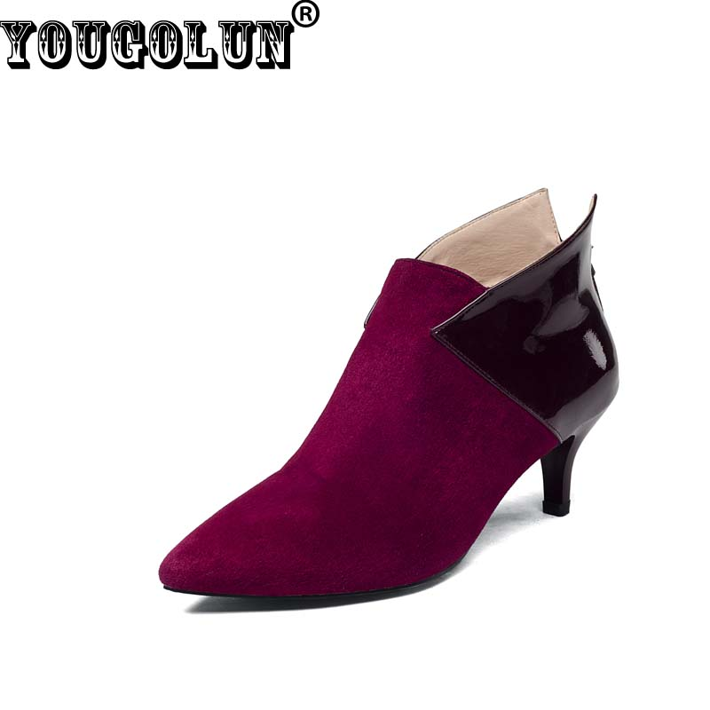 YOUGOLUN Spring Autumn Women Ankle Boots Sheepskin Suede Mid Thin Heels(55mm) Fashion Pointed toe Shoes Woman Red Black Boots<br><br>Aliexpress