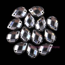 50pcs 10x14mm Black Diamond Teardrop Sew On Crystal Stones Acrylic Sewing On Rhinestone 2 Holes DIY Garment Crafts Handmade